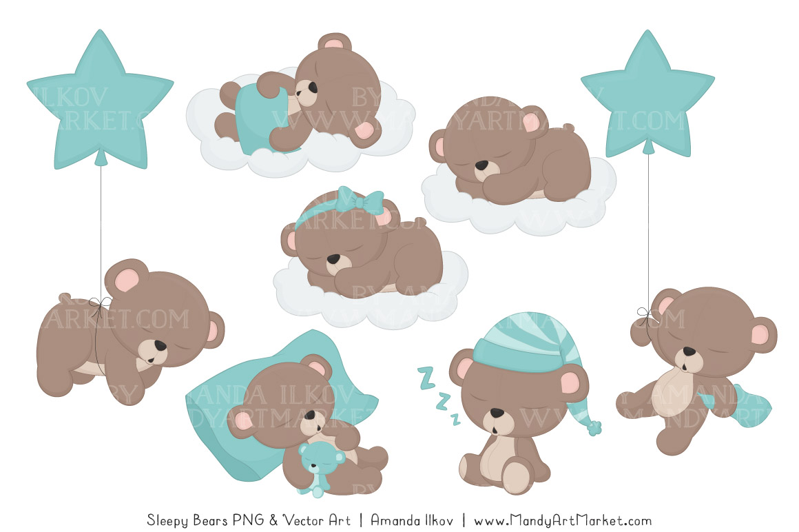 Sets beary cute mandy. Bears clipart sleeping