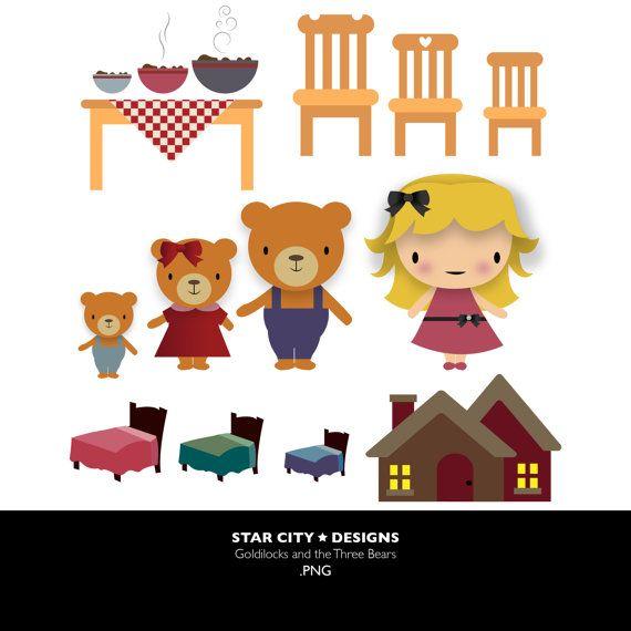 Goldilocks and the clip. Bears clipart three bears