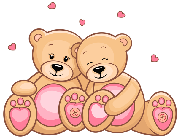 Day teddy couple png. Bears clipart valentines