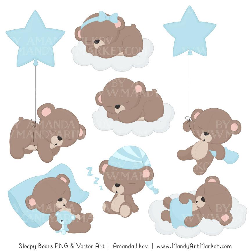 Soft blue sleepy paper. Bears clipart vector