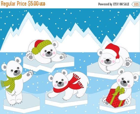 Bears clipart vector. Polar digital arctic winter