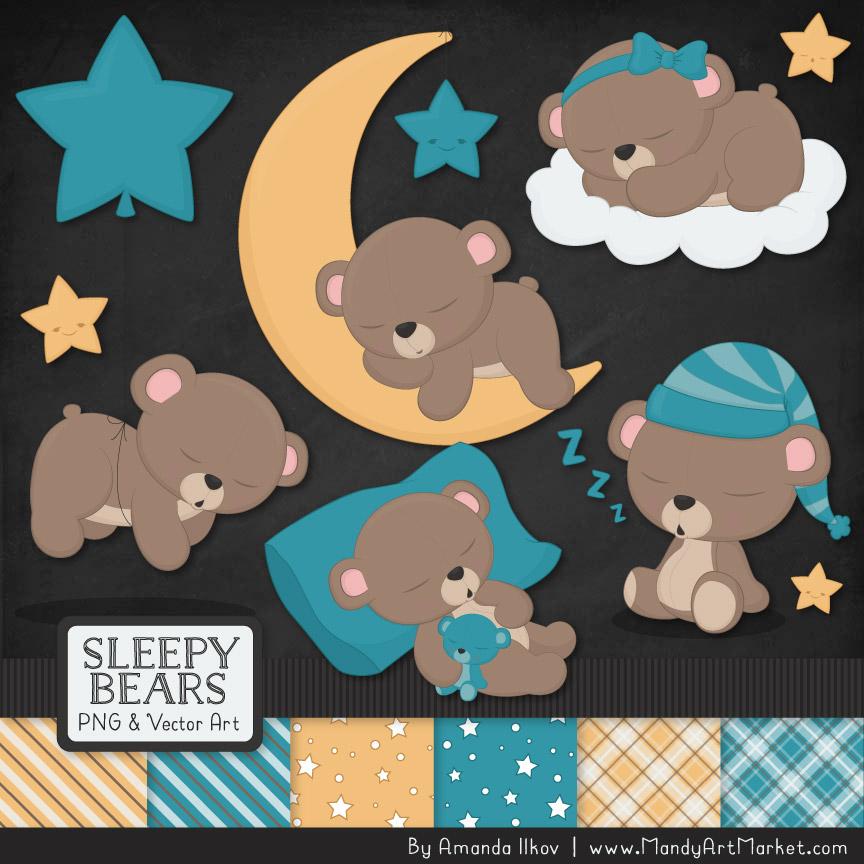 Bears clipart vector. Vintage blue sleepy paper