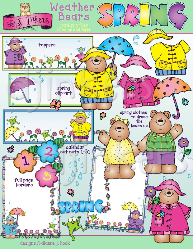 Clip art for spring. Bears clipart weather