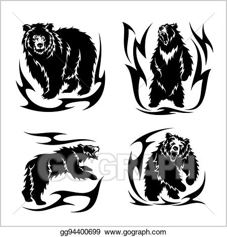 Vector art ina tribal. Bears clipart wild