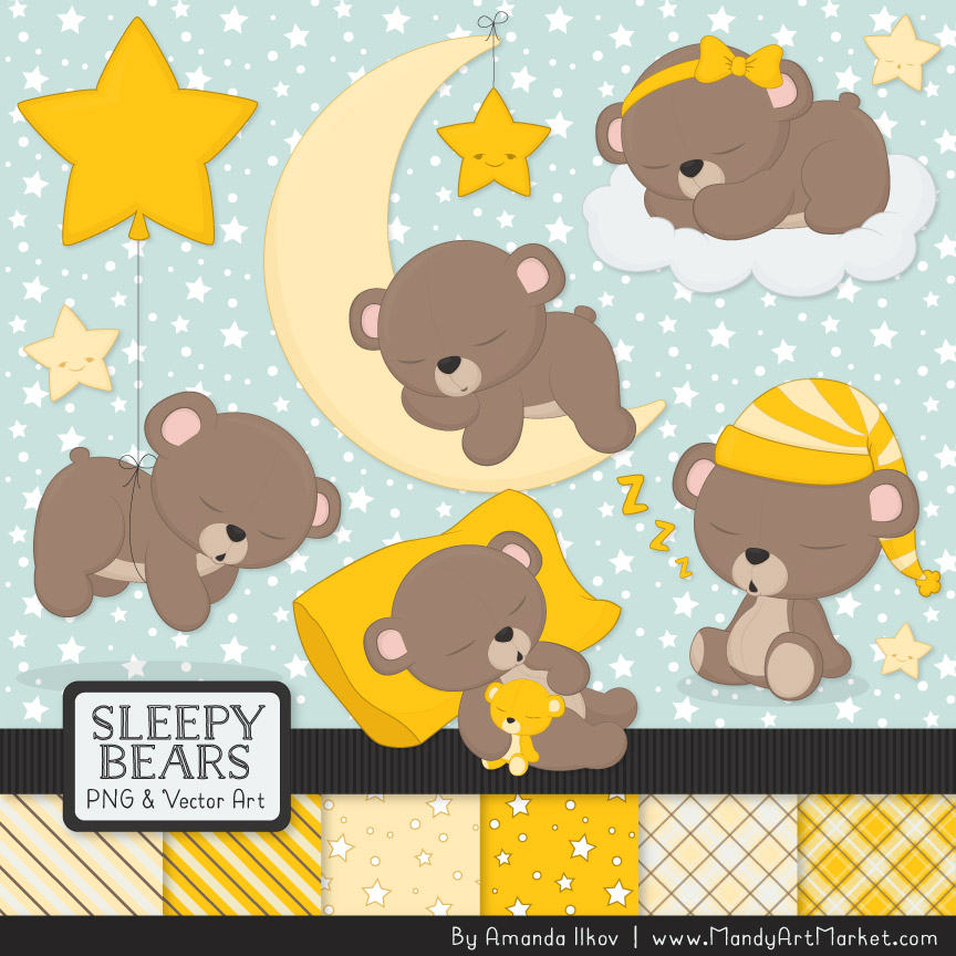 Bears clipart yellow. Sleepy paper vectors