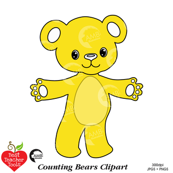 Bears clipart yellow. Counting bear teddy math