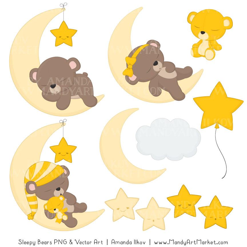 Sleepy paper vectors. Bears clipart yellow