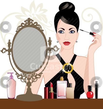 Beautiful clipart. Of a lady putting