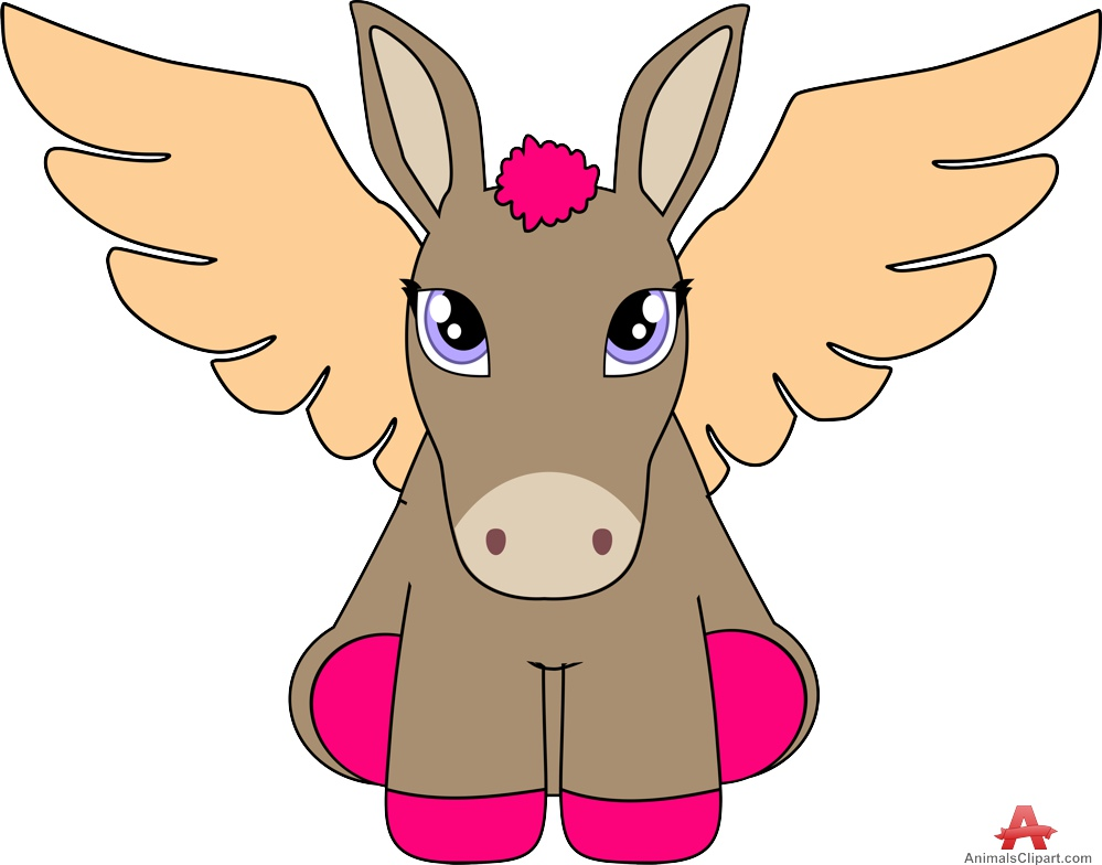 Donkey female with wings. Beautiful clipart animal