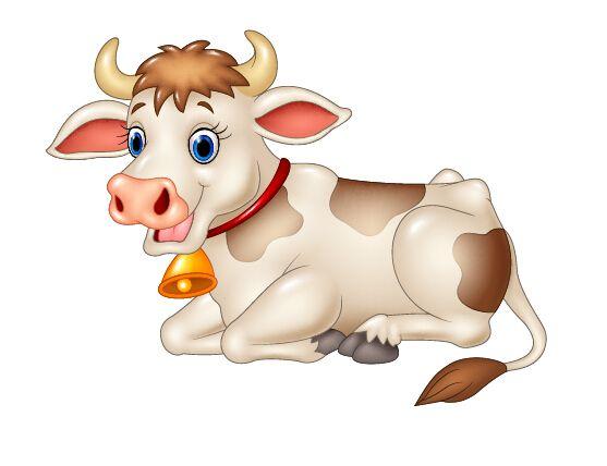 Cow cartoon vector animals. Beautiful clipart animal