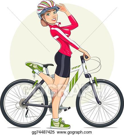Beautiful clipart beautiful girl. Vector illustration in helmet