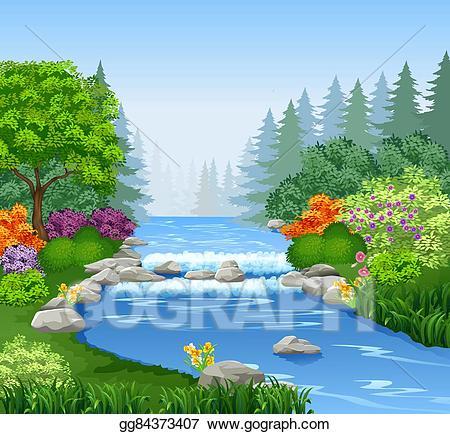 Beautiful clipart beautiful nature. Vector art mountain river
