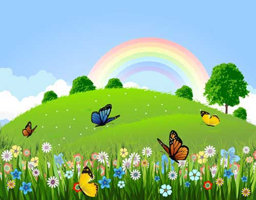Garden with rainbow background. Beautiful clipart beautiful nature