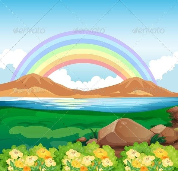 Hill clipart beautiful sky. Illustration of a view