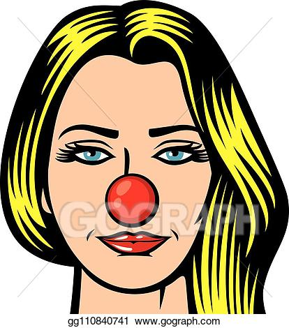 Vector woman red nose. Beautiful clipart beautiful person