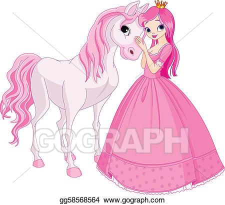 Vector art and horse. Beautiful clipart beautiful princess