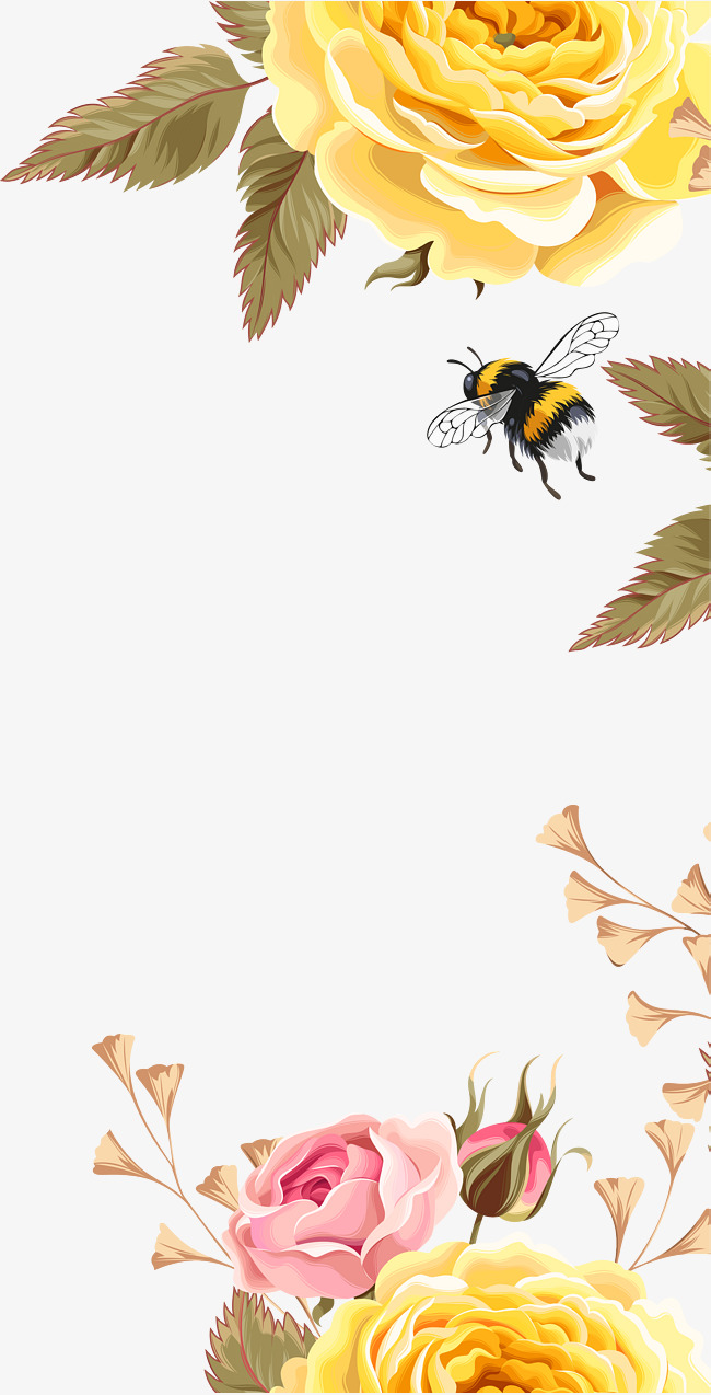 Yellow flower bees flowers. Beautiful clipart bee