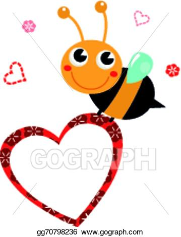 Vector cute with blank. Beautiful clipart bee