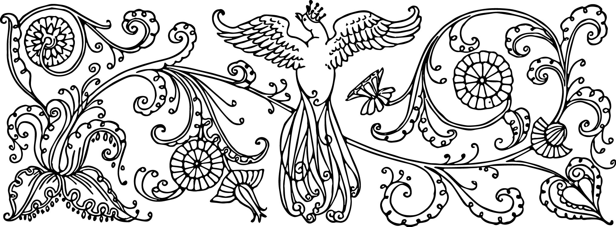 Vintage bird with crown. Beautiful clipart black and white