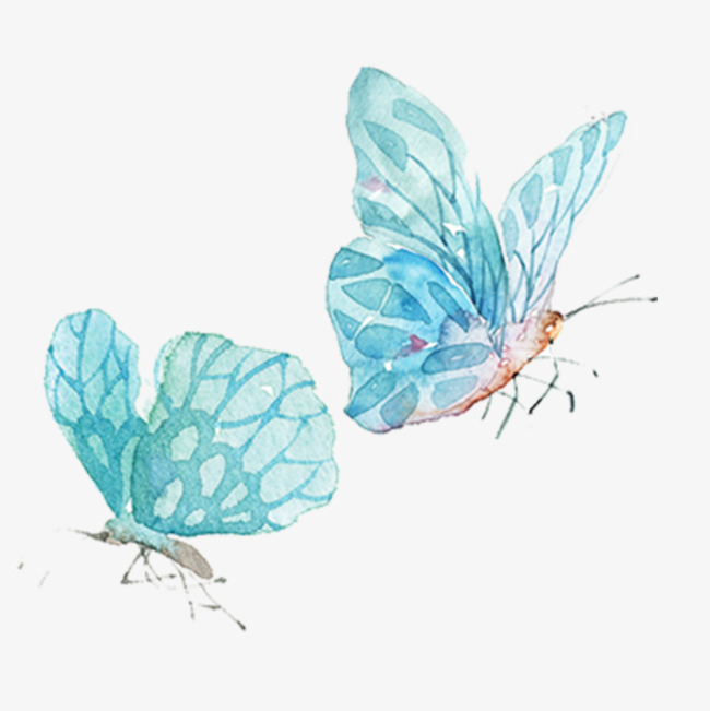 Flying watercolor png image. Beautiful clipart blue butterfly