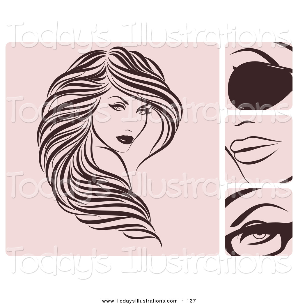 Beautiful clipart brown hair. Royalty free stock new