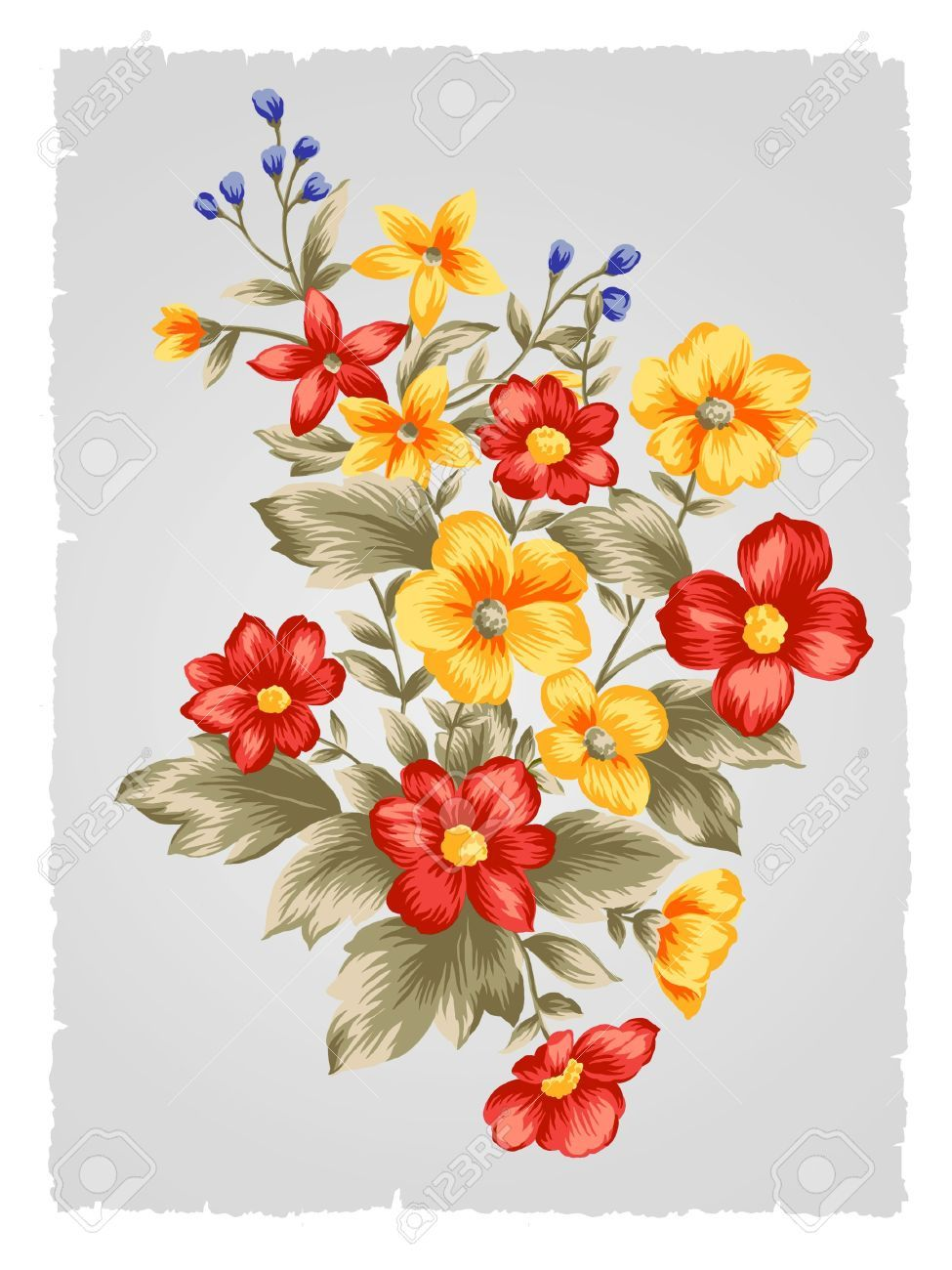 Fabric painting flower patterns. Beautiful clipart bunch