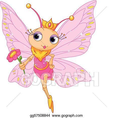 Beautiful clipart butterfly. Vector art princess drawing