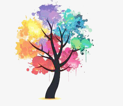 Beautiful clipart cartoon. Painted trees hand tree