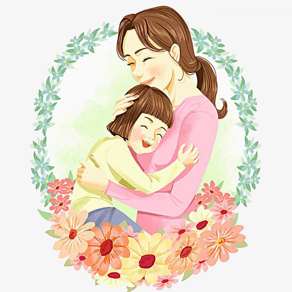 Pretty mother simple pen. Beautiful clipart cartoon