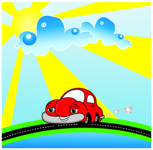 Car image cute character. Beautiful clipart cartoon
