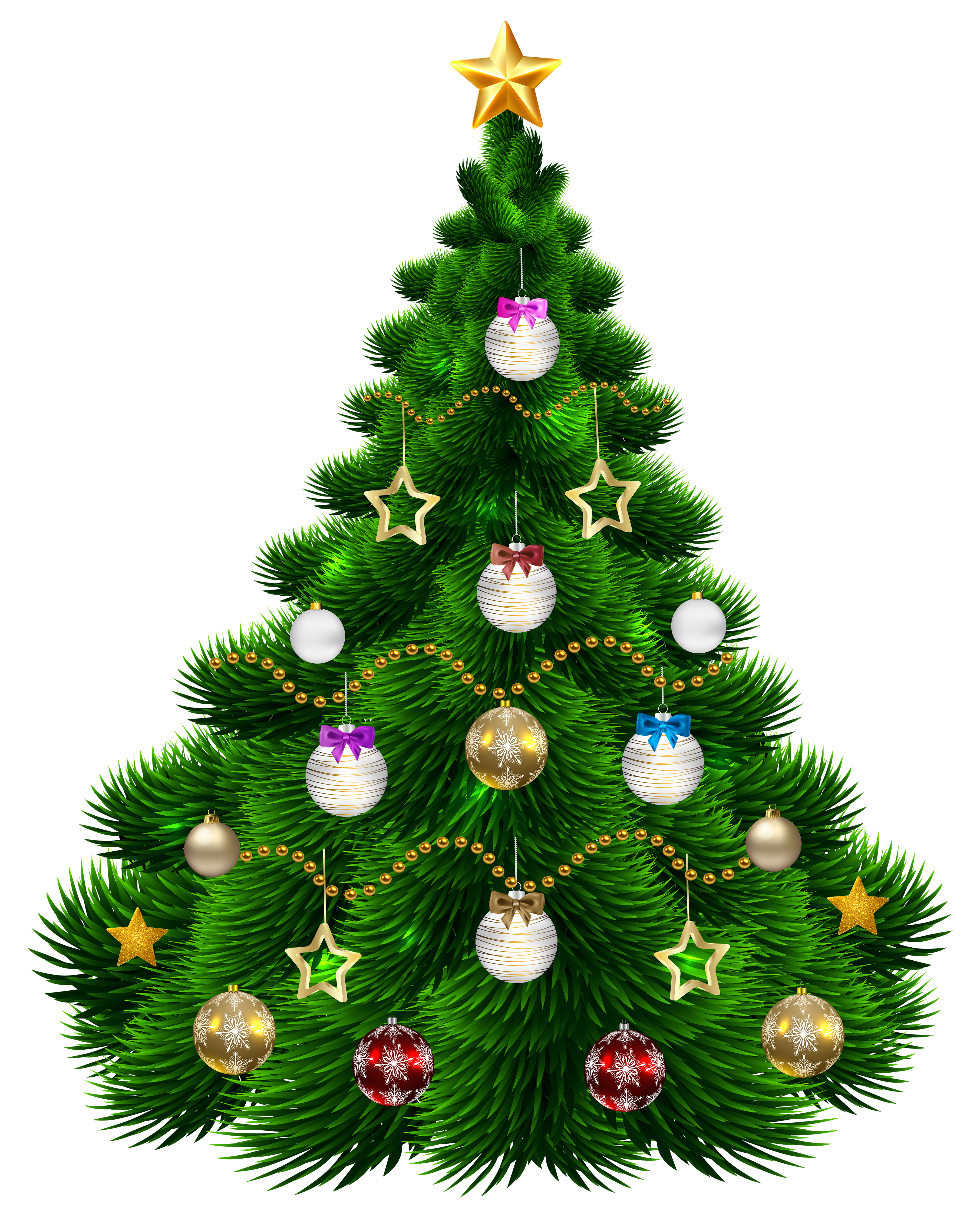Tree with ornaments png. Beautiful clipart christmas