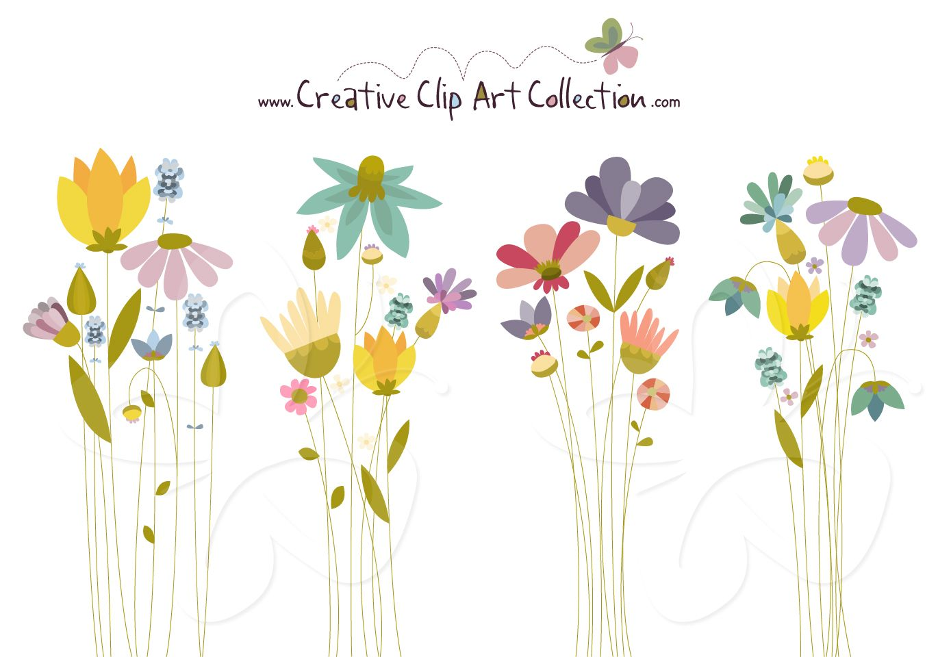 Flowers inspired by meadows. Beautiful clipart cute