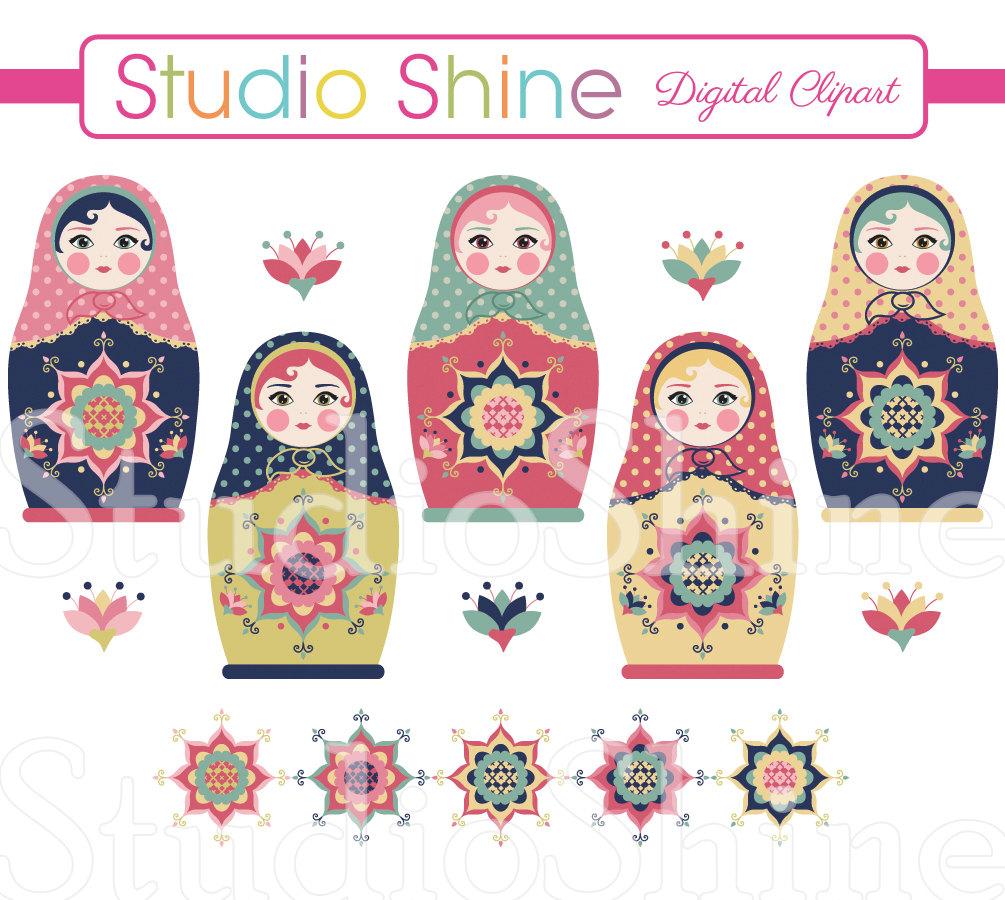 Russian doll digital clip. Beautiful clipart cute