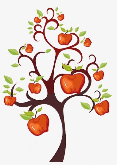 Cartoon apple tree fine. Beautiful clipart cute