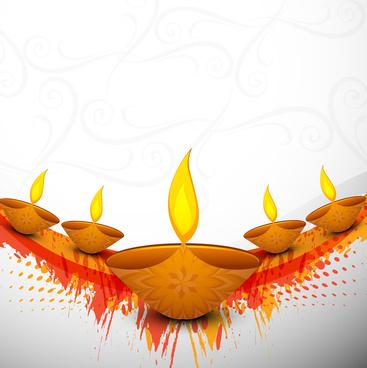 Beautiful clipart diwali. Oil lamp free vector
