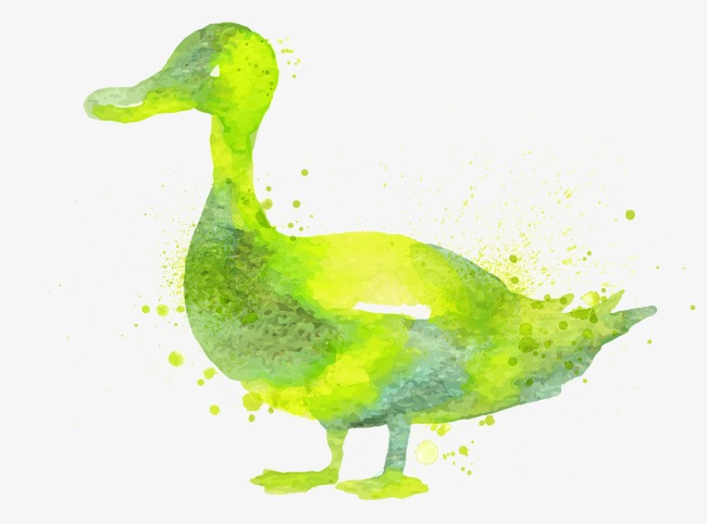 Watercolor green drawing animals. Beautiful clipart duck