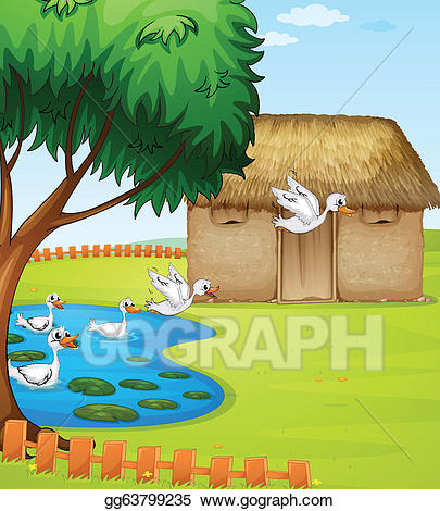 Beautiful clipart duck. Vector ducks a house