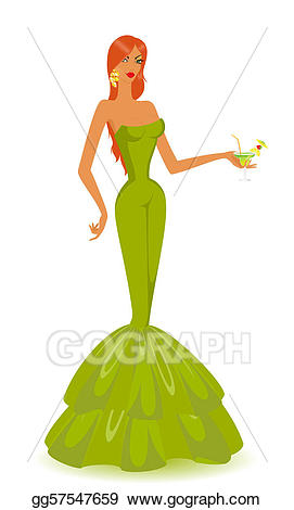 Beautiful clipart evening gown. Vector illustration woman in