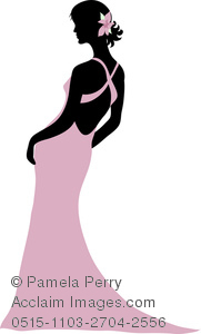 Silhouette of woman in. Beautiful clipart evening gown