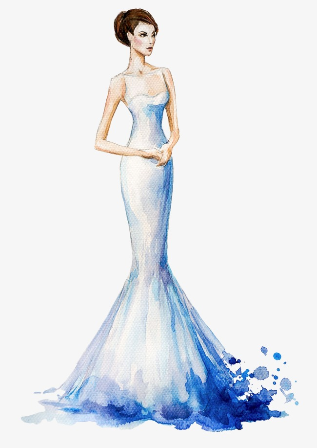Hand painted dress handpainted. Beautiful clipart evening gown