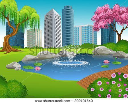 Vector cartoon illustration of. Beautiful clipart garden