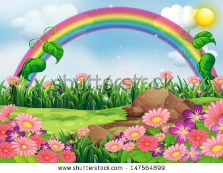 With rainbow background station. Beautiful clipart garden