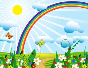 Beautiful clipart garden. With rainbow background station