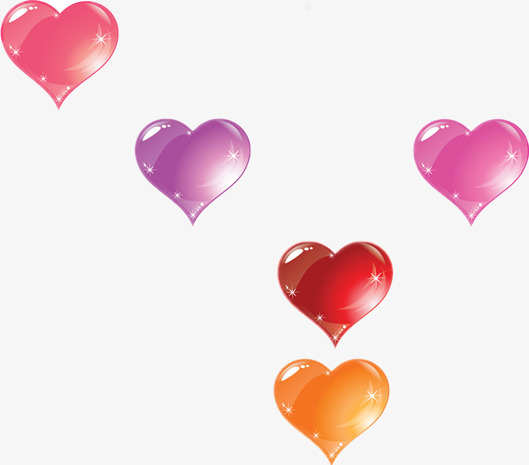 Shaped pattern five hearts. Beautiful clipart heart