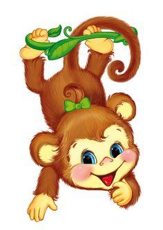 Sitting in a bucket. Beautiful clipart monkey