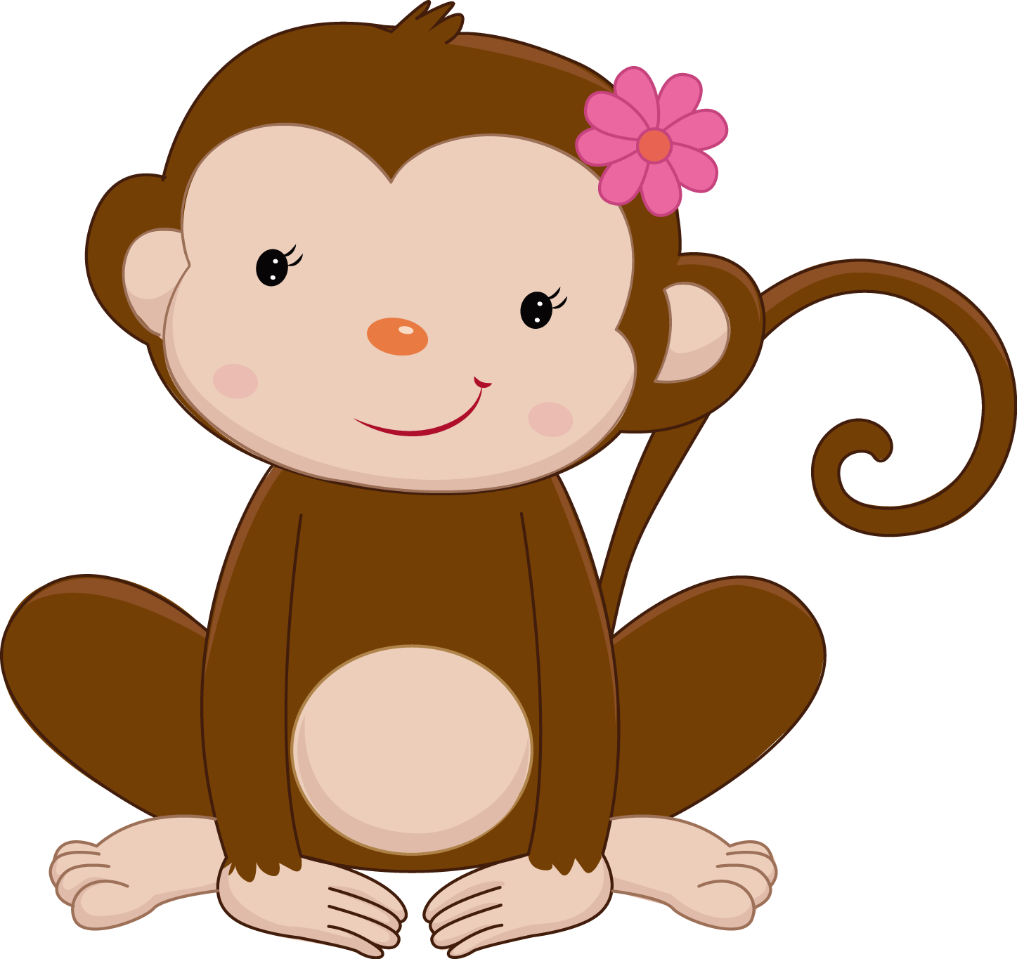 Pretty pink girly jungle. Monkey clipart sunglasses