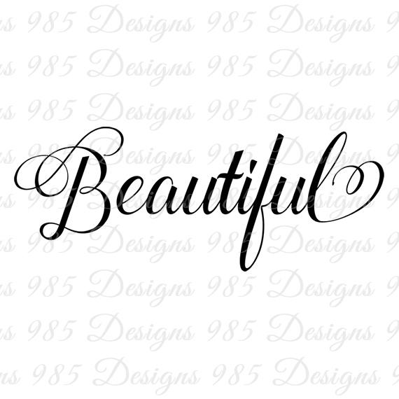 Beautiful clipart pretty word. Script svg for cricut