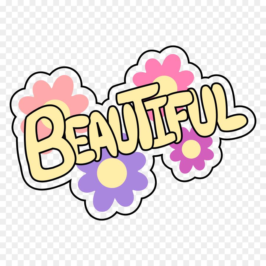 Pink flower cartoon text. Beautiful clipart pretty word