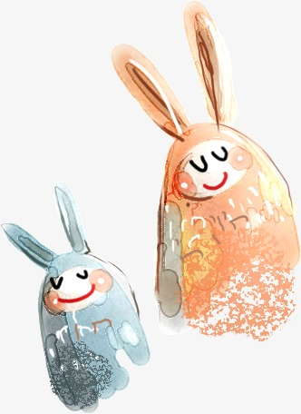 Lovely hand painted cartoon. Beautiful clipart rabbit