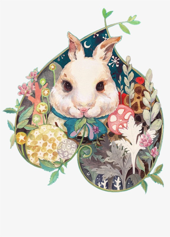 Beautiful clipart rabbit. Small fresh hand painted